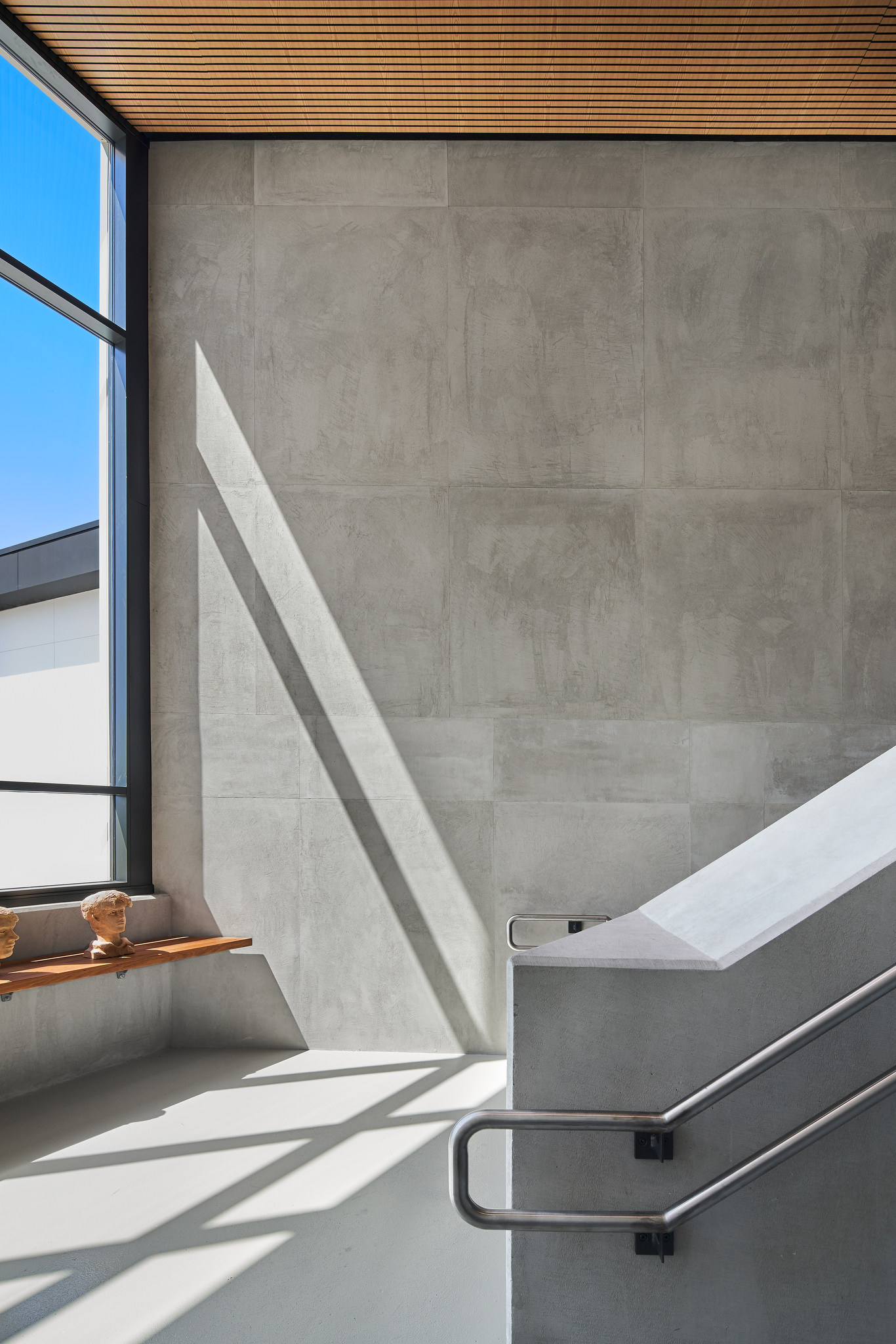Architecturally designed school building finished in exposed concrete