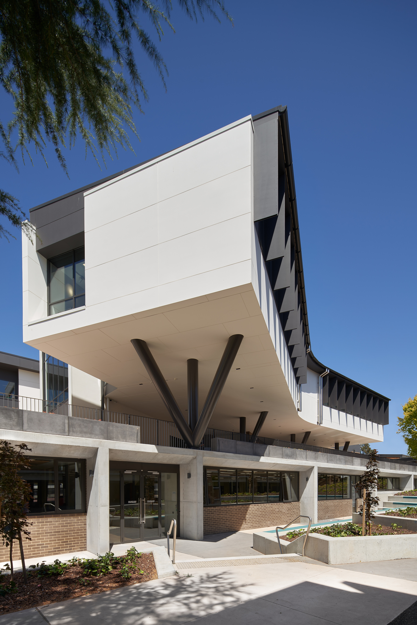 Architecturally designed school building cantilevered on posts