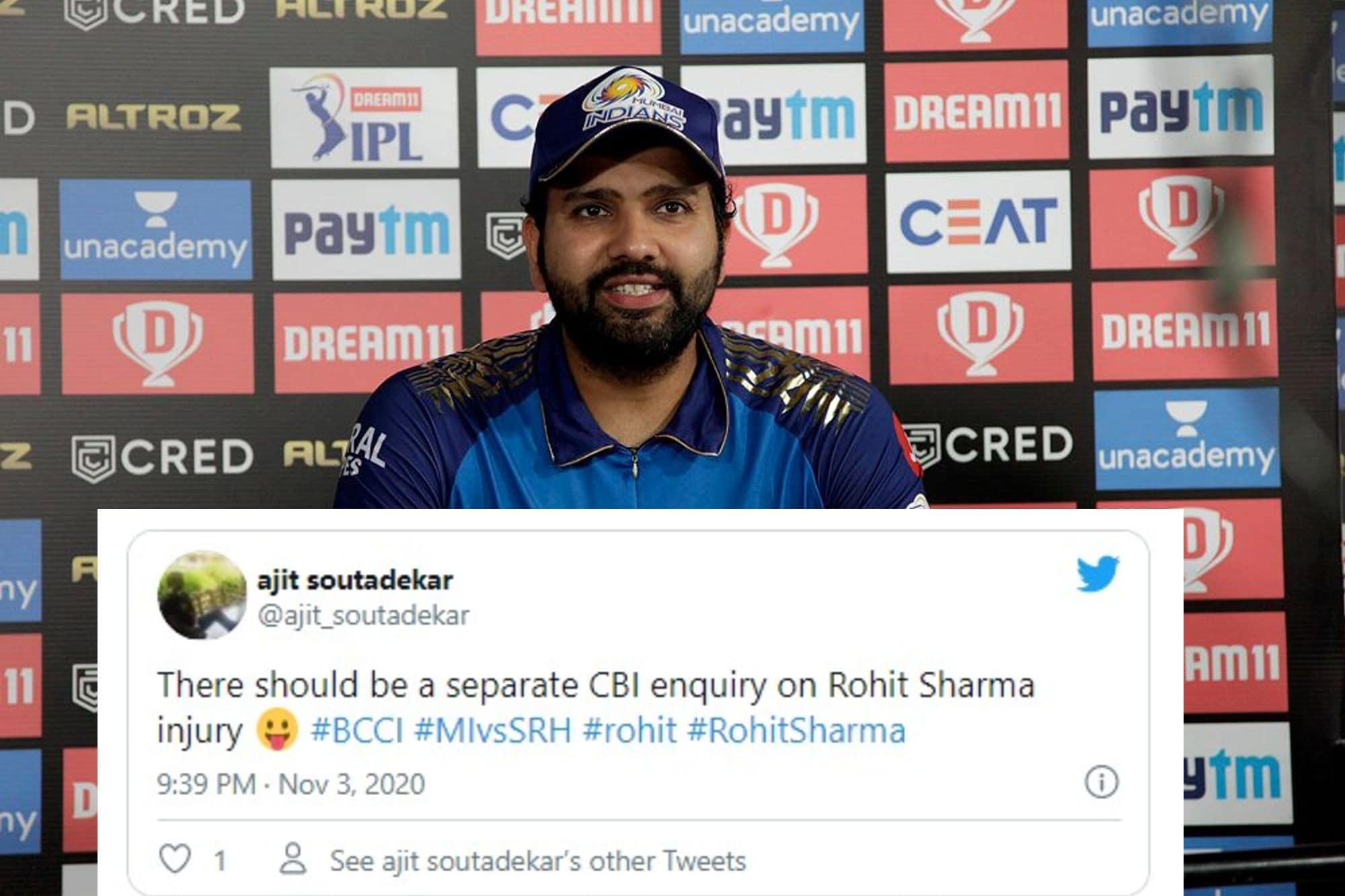 IPL 2020: 'Separate CBI Enquiry on Rohit Sharma Injury' - Fans Confused As Rohit Sharma Returns to Playing XI; Question BCCI on Australia Tour Ommission