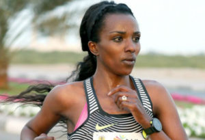 Tirunesh Dibaba of Ethiopia in action