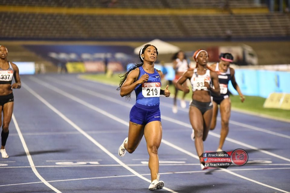 Shelly-Ann Fraser-Pryce at the 2019 Jamaica Trials