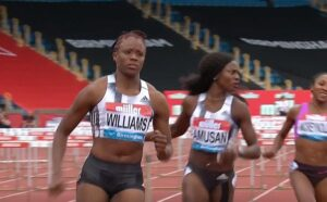 Danielle Williams of Jamaica wins the women's 100m hurdles