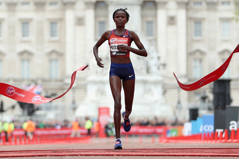 Brigid Kosgei of Kenya in action