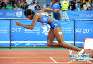Shaunae Miller-Uibo runs in the women's 400m in Rabat, Morocco