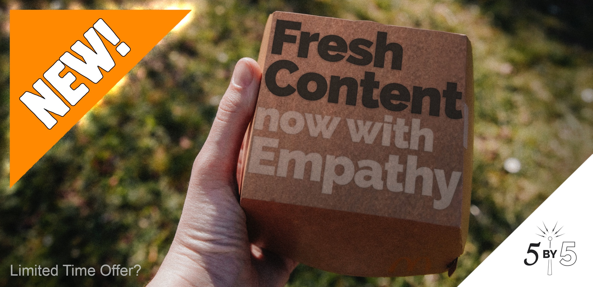 "Fast food burger box ""fresh content now with empathy"""
