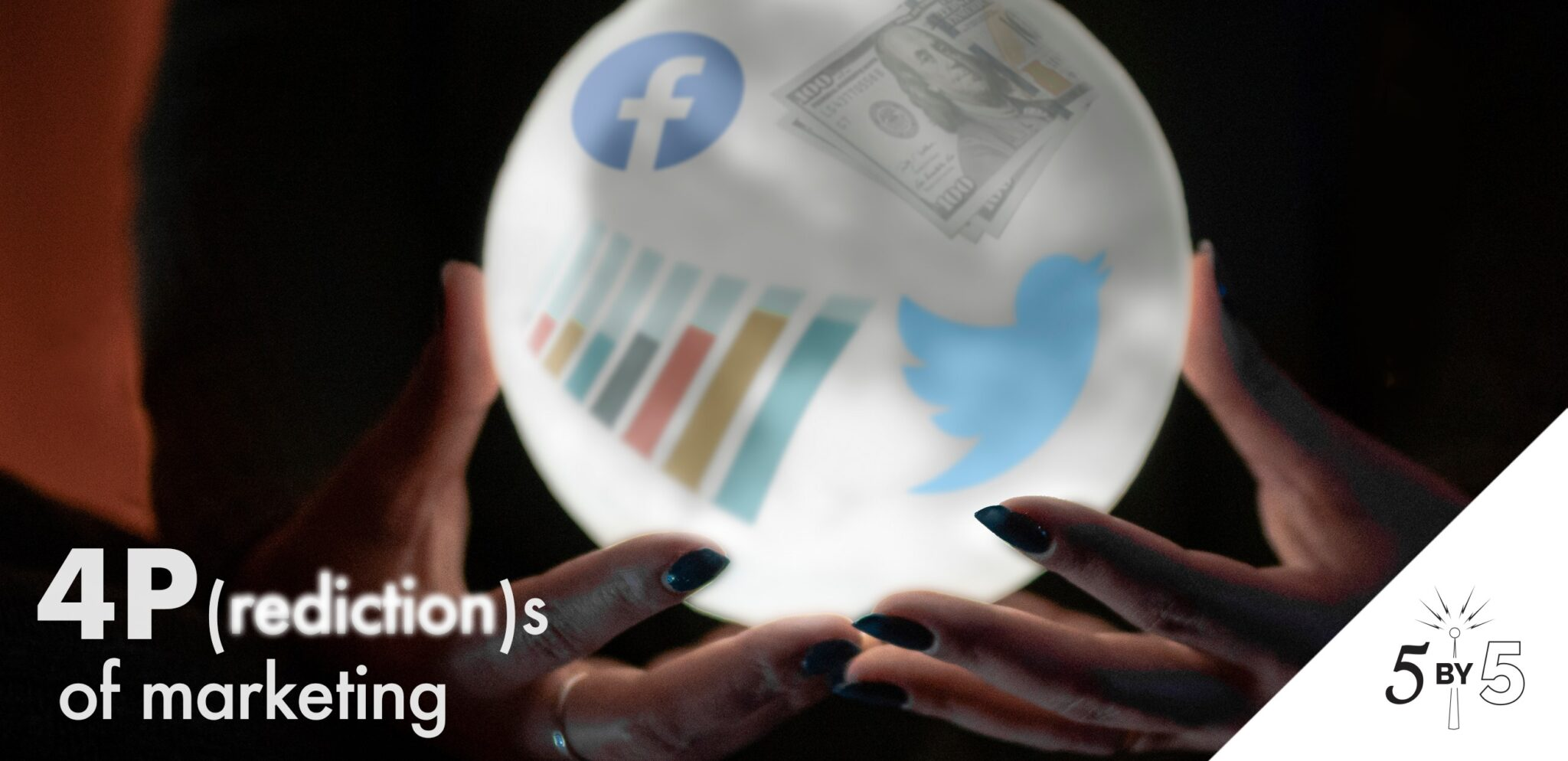 crystal ball with FB and TW logos and data graph