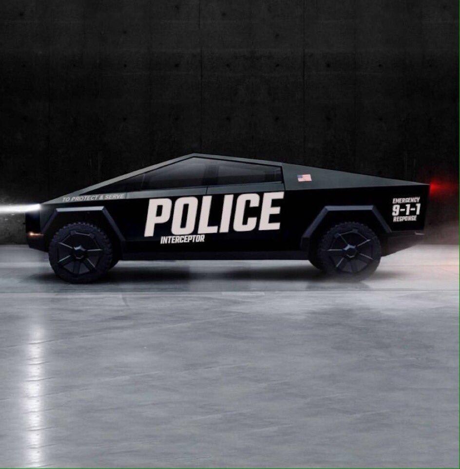 Black Cybertruck Police Interceptor