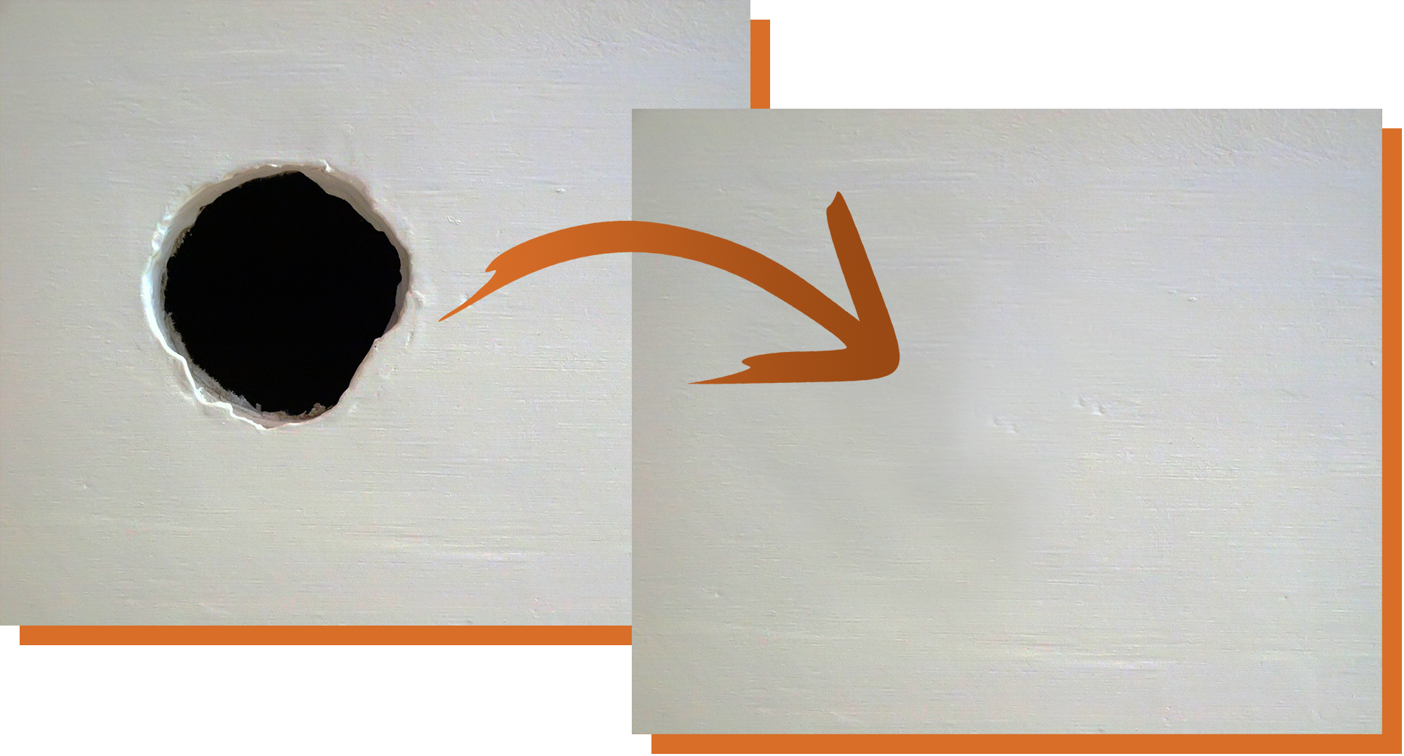 Before and after drywall repair