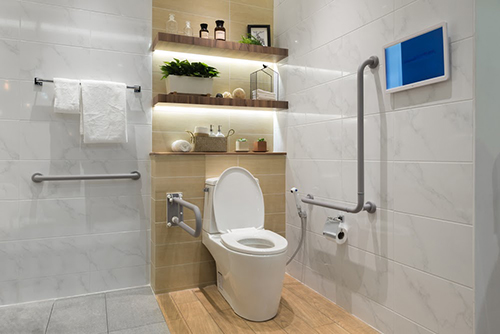 Proper toilet height with rails