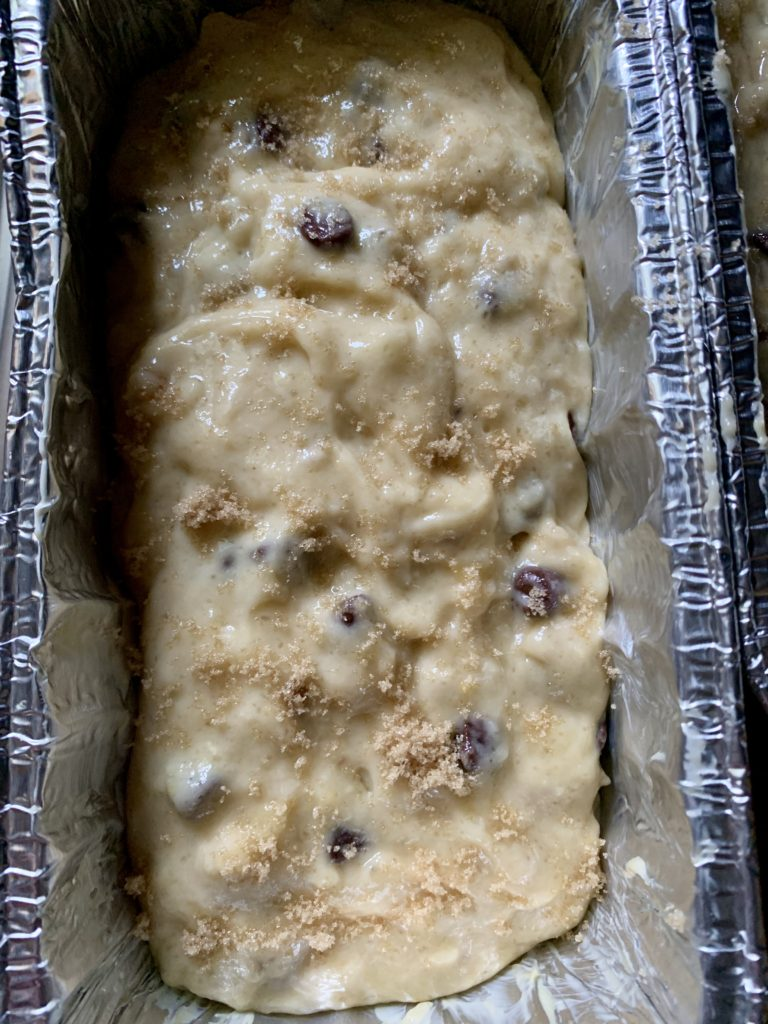 banana bread dough in a loaf pan