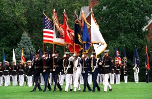 011001-D-2987S-138 The Joint Service Color Guard advances the colors during the retirement ceremony of Chairman of the Joint Chiefs of Staff Gen. Henry H. Shelton, at Fort Myer, Va., on Oct. 2, 2001. DoD photo by Helene C. Stikkel. (Released)
