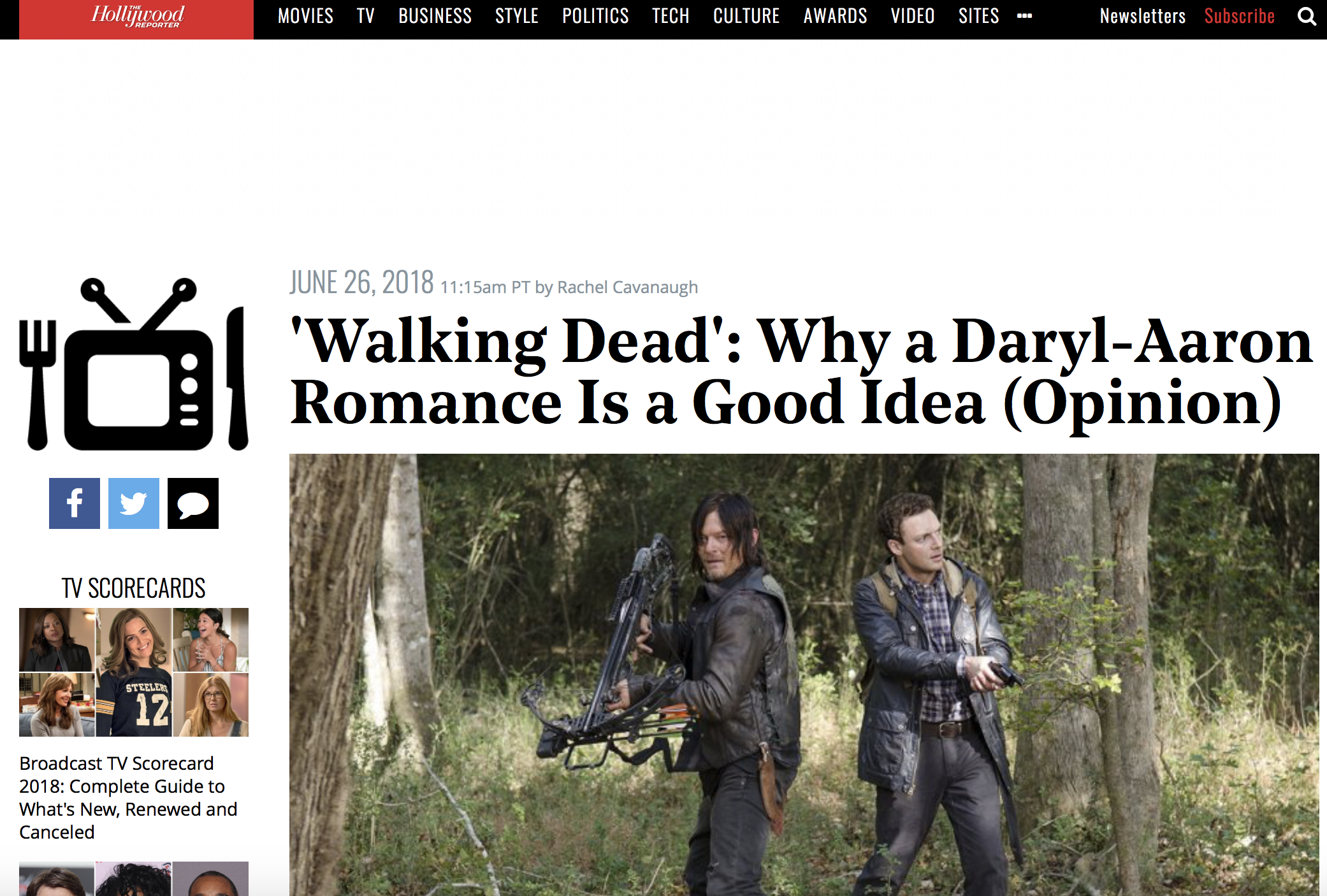 Walking Dead opinion piece on a Daryl and Aaron romance.