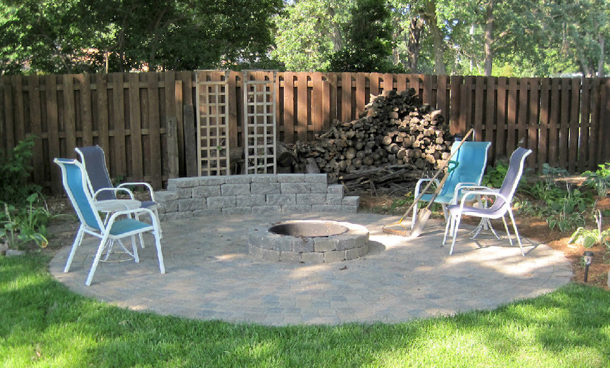 Paver Patio with Firepit and Small Block Wall