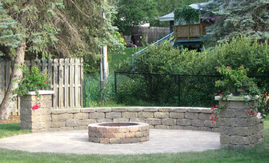 Large Paver Patio with Firepit, Wall and Accent Columns