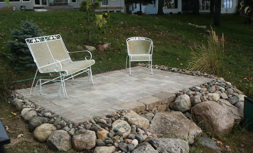 Paver Patio with Stone Surround