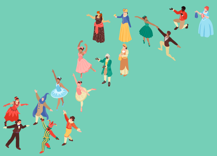illustration of actors dancing across a flat green background