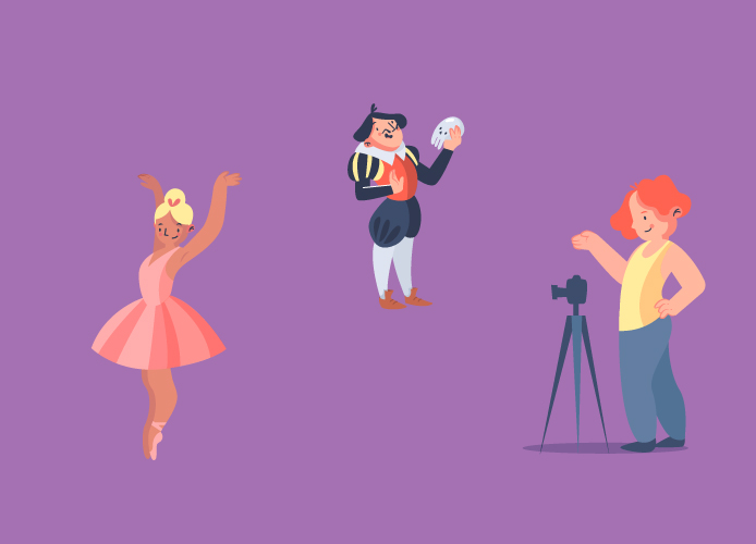 Ballerina, an actor and a photographer on a purple background - Mark Keller TQTF