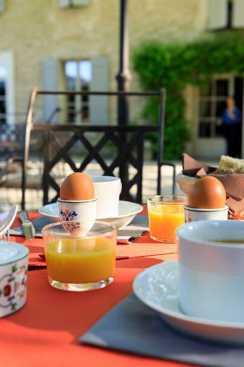 Petit Dejeuner on the Patio at Mas Valentine Hotel