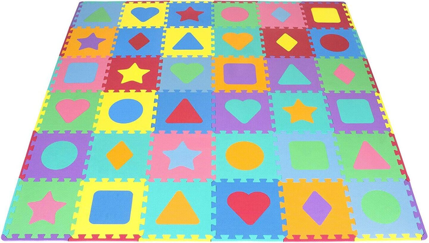 Baby Foam Puzzle Floor Play Mat with Shapes & Colors for a South of France indoor activity