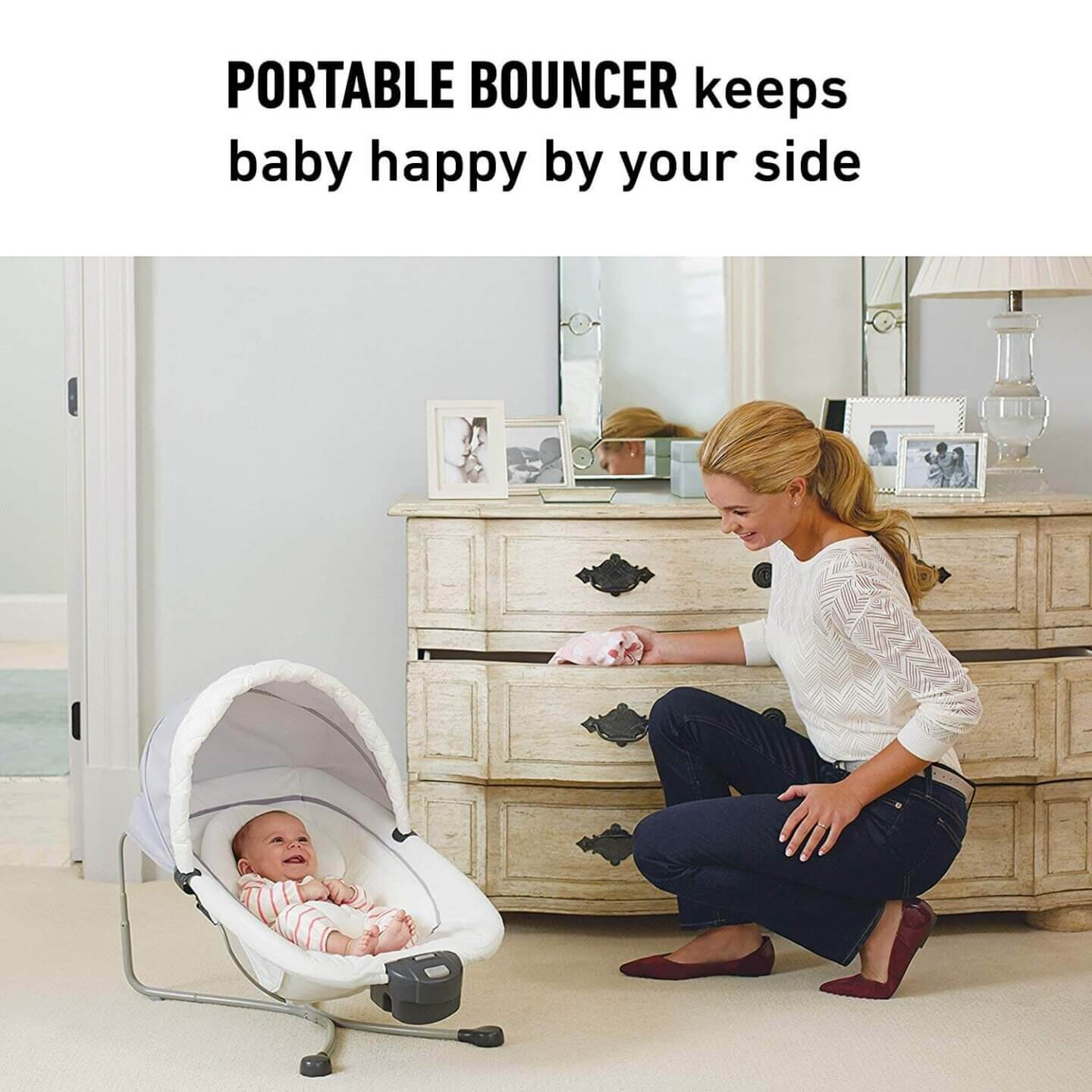Gaco Pack n'  Play Quick Connect Playard with Portable Bouncer. Great to keep your baby entertained and safe during quarantine lockdown