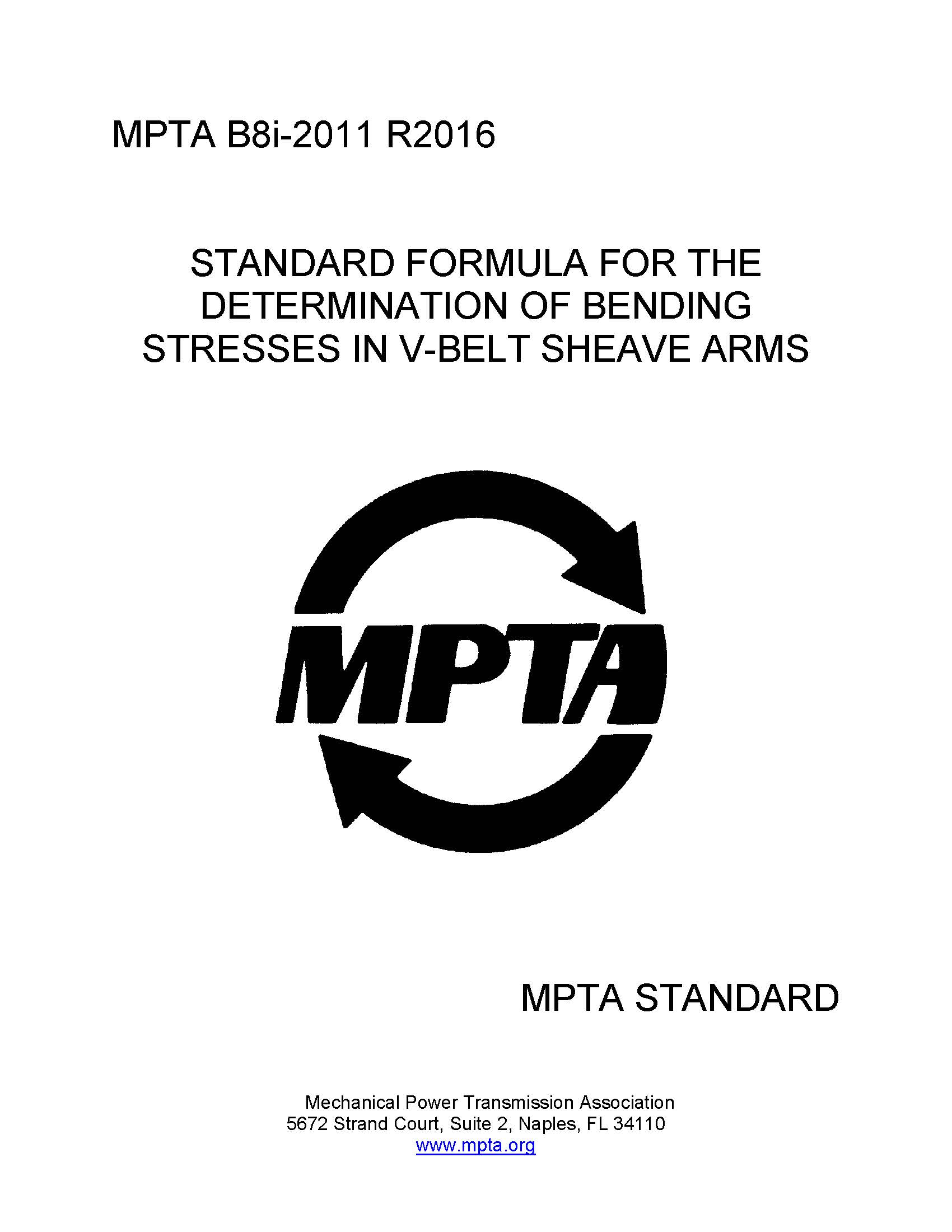 An image of the MPTA standard B8i, Standard Formula for the Determination of Bending stresses in V-Belt Sheave Arms.