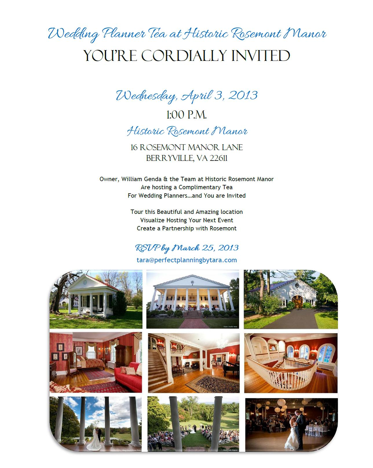 Wedding Planners You're Invited…Special Tea at Historic Rosemont Manor