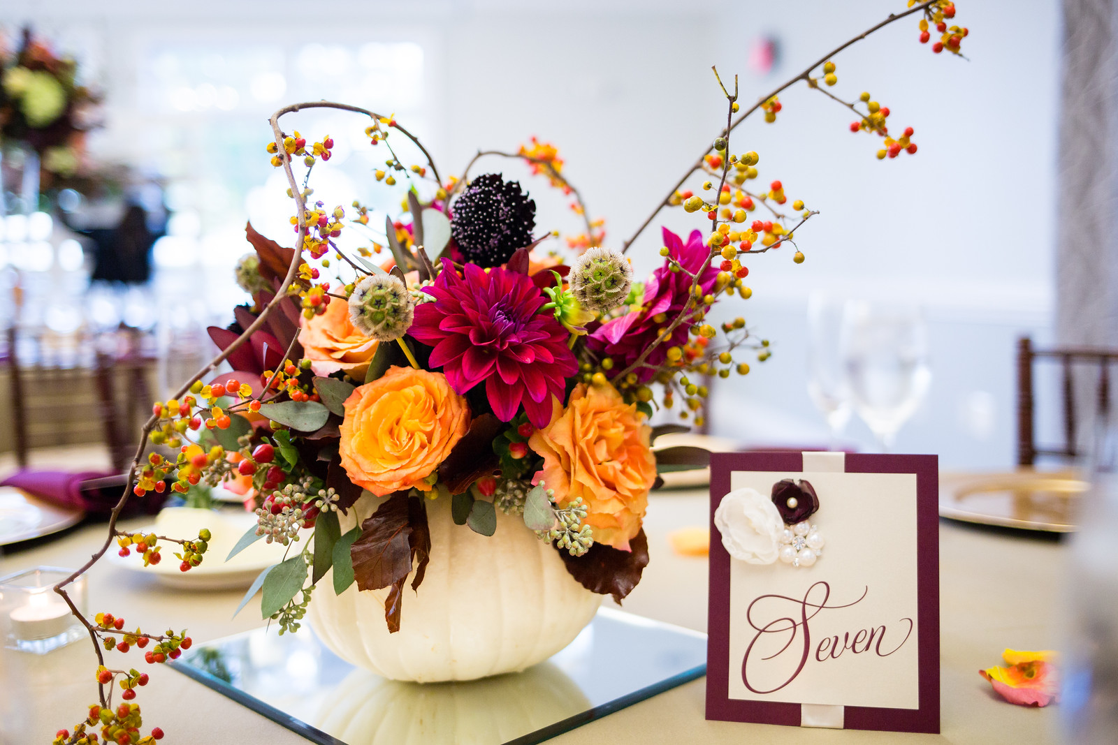 fall wedding reception centerpieces by perfect planning events
