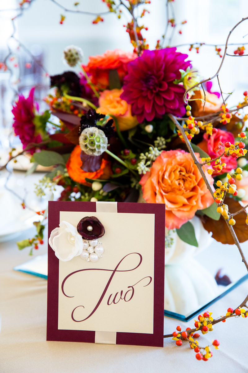 fall wedding reception centerpiece by perfect planning events