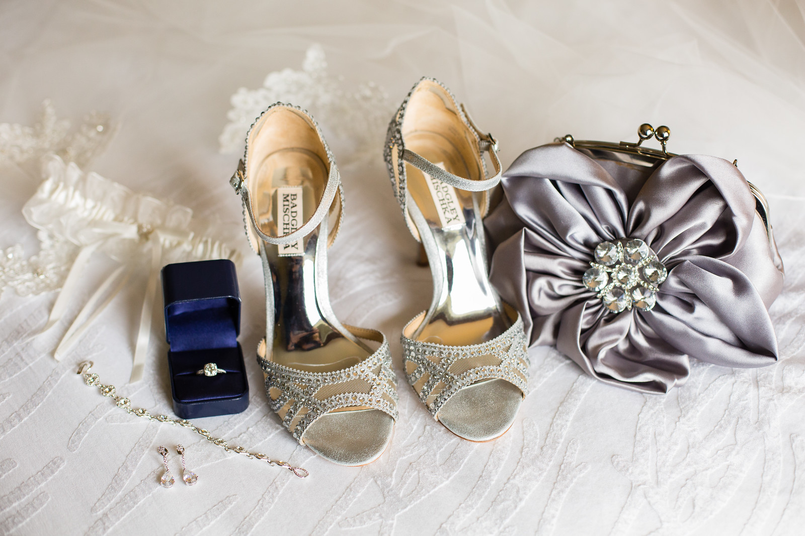 detail shot of bridal accessories