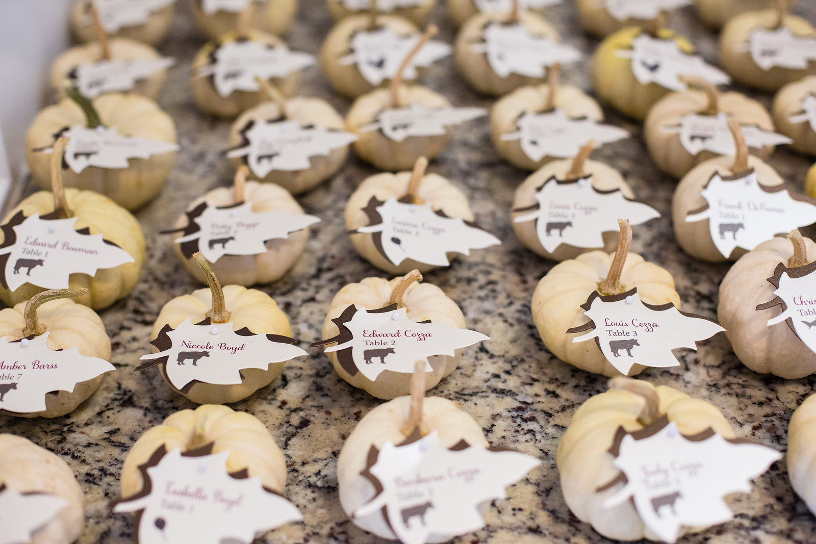 pumpkin escort cards fall weddings by perfect planning events
