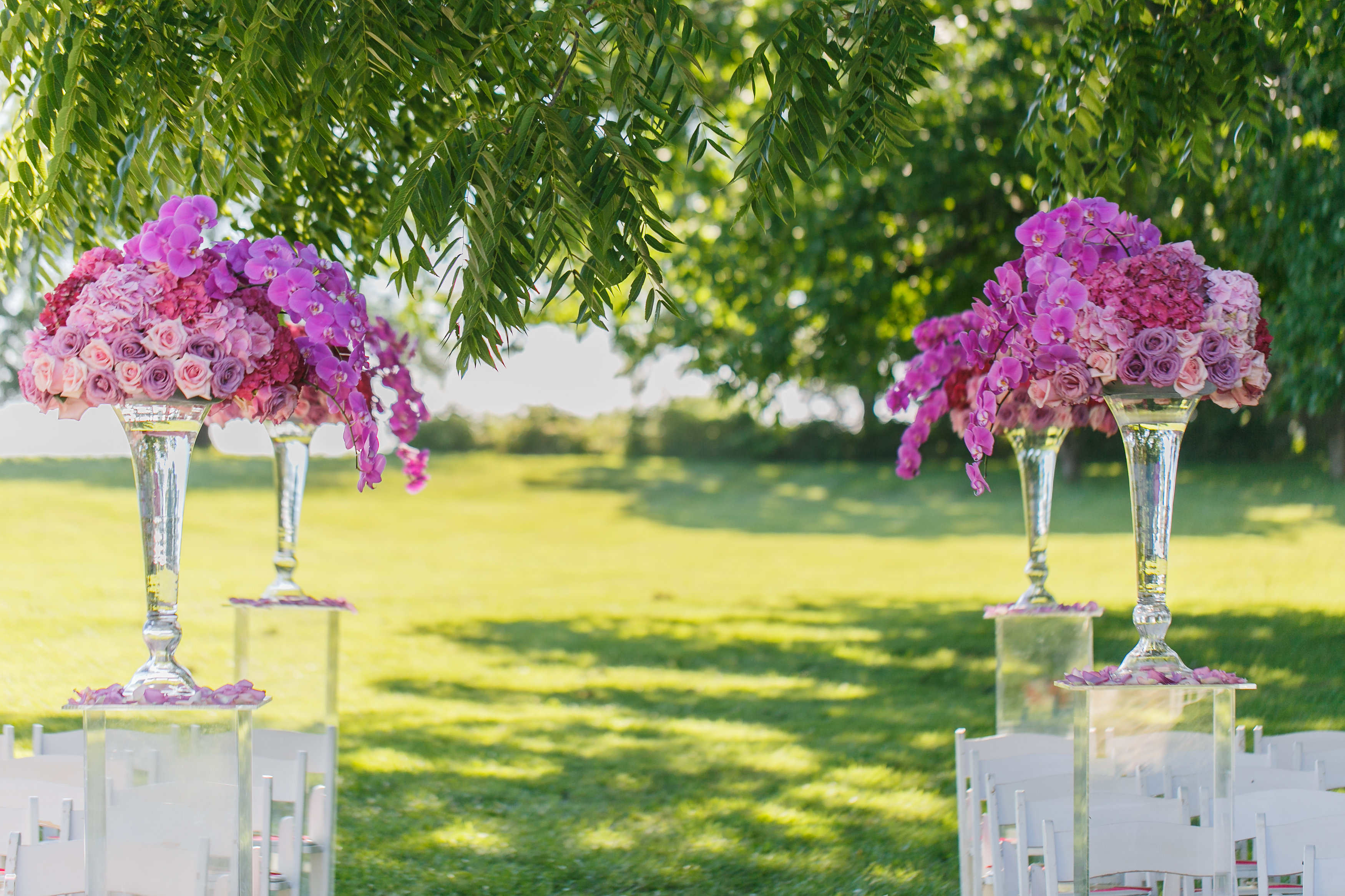 Pink Outdoor Wedding Ceremony by Perfect Planning Events
