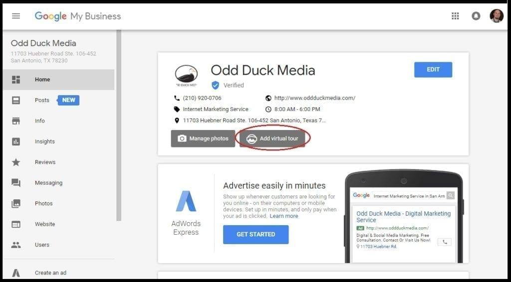 Virtual Tour Set Up Google SEO San Antonio Odd Duck Media