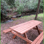 Basic campsite by the creek with picnic table is one of the amenities at Grand View