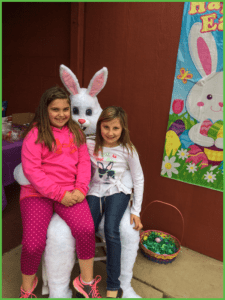Pretty Little Girls with Easter Bunny
