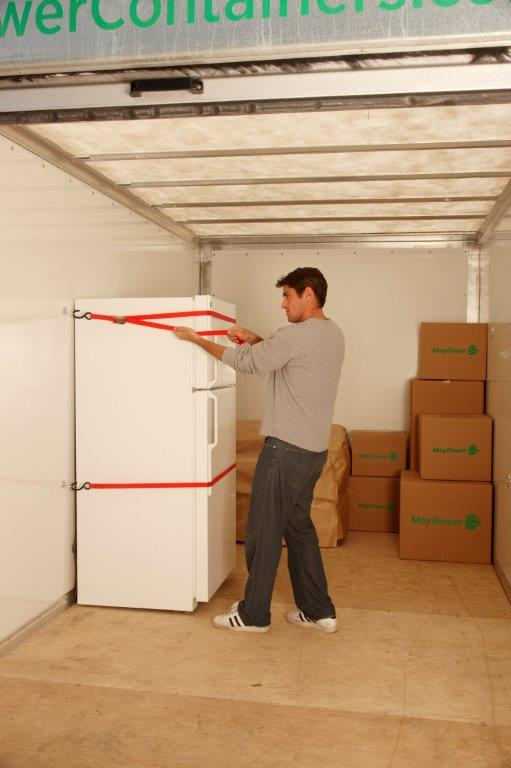 loading a mayflower storage container at home