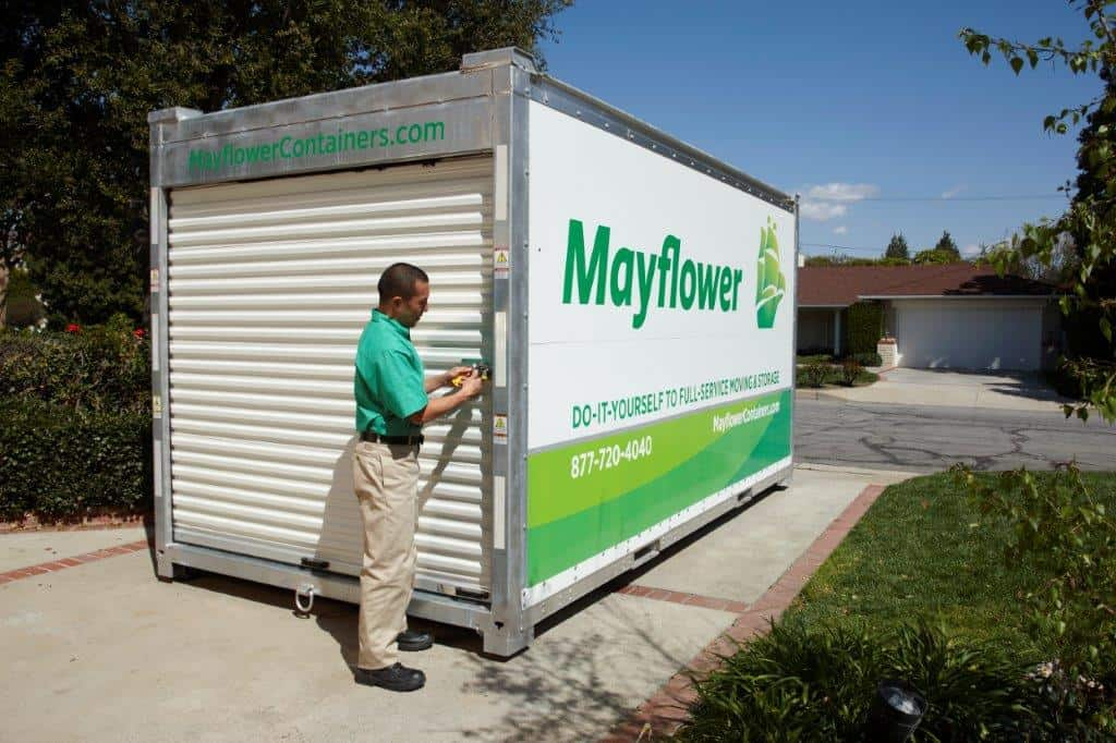 mayflower portable container being locked