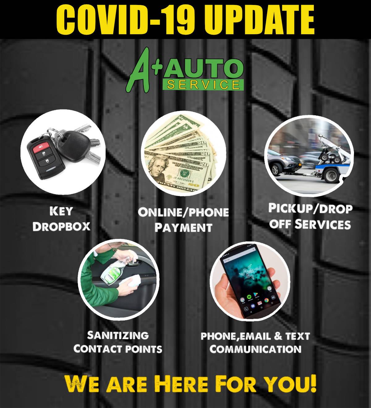 Coronavirus update A+ Auto Service Summerville and North Charleston Mechanic Shop