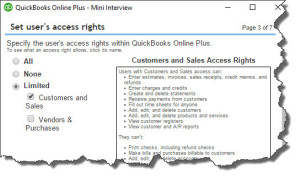 Figure 3: What limitations do you want to put on additional QuickBooks Online users?