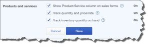 Figure 1: These three options in Company Settings must be labeled On in order to make use of all of QuickBooks Online's inventory-tracking features.