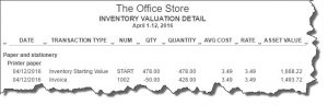 Figure 4: The Inventory Valuation Detail report