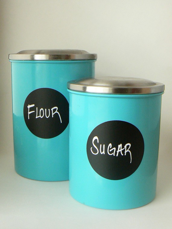 Adhesive Chalkboard Vinyl is great for labeling items in the kitchen.