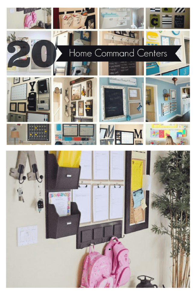 20 Home Command Centers to keep your entryway organized. No more chasing down shoes, coats, bags and homework.