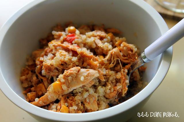 Crockpot Corn Salsa Chicken with Quinoa