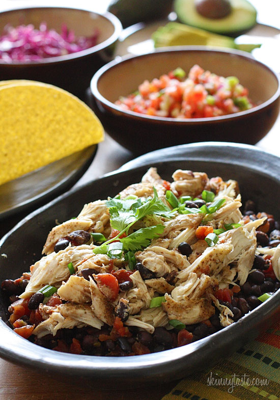 Slow Cooker Chicken Black Bean Tacos