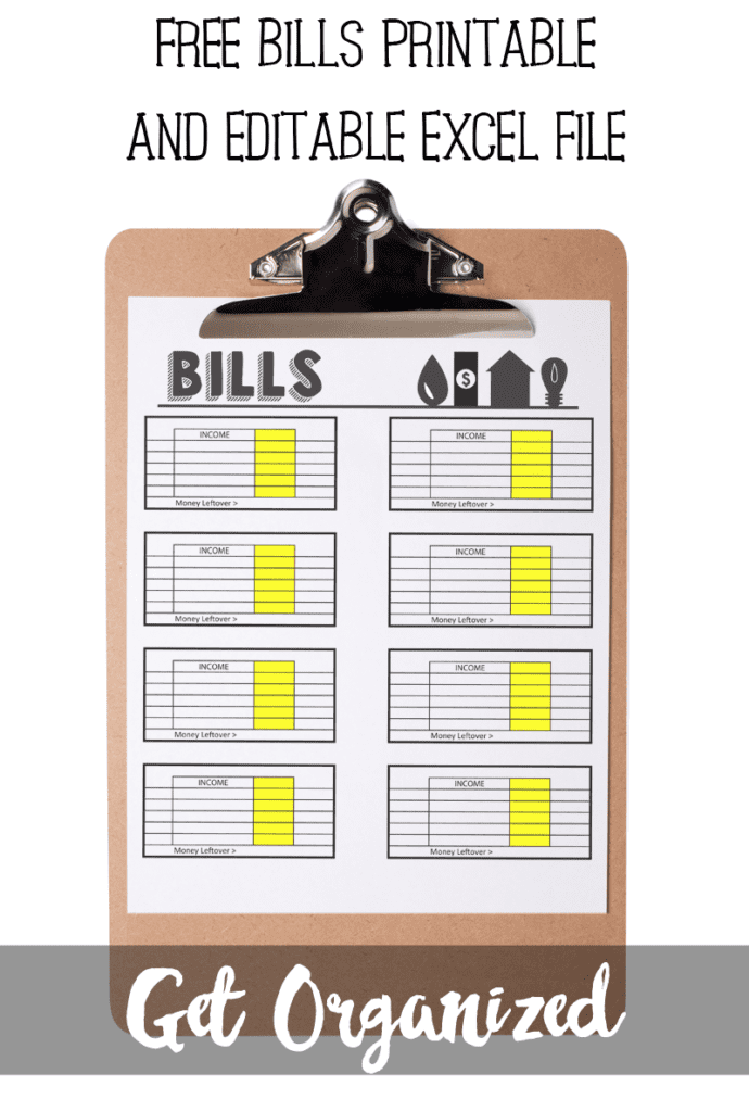 Keep track of money coming in and out with a free bill tracker printable and editable excel file. https://poofycheeks.com