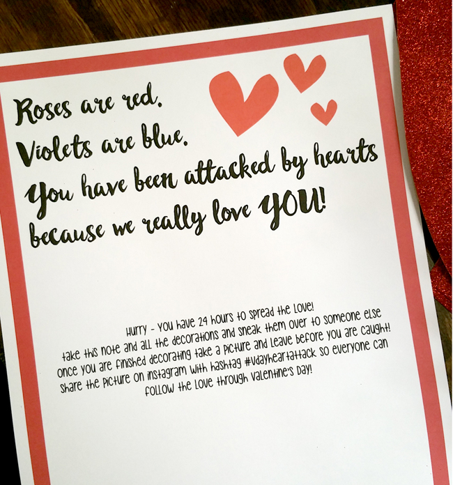 Spread a Valentine's Day Heart Attack Challenge to friends - grab the free printable.
