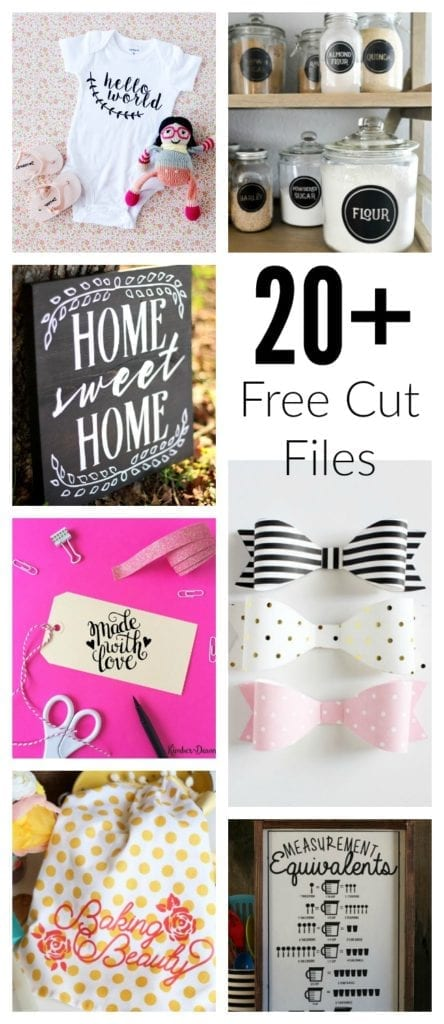 Over 20 Free Cut Files for Silhouette and Cricut Users!