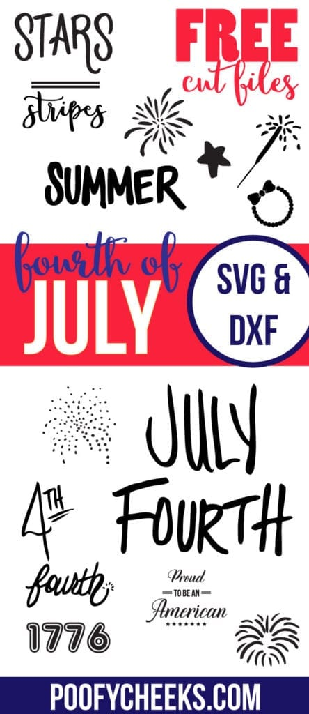 Free SVG and DXF Fourth of July cut files.