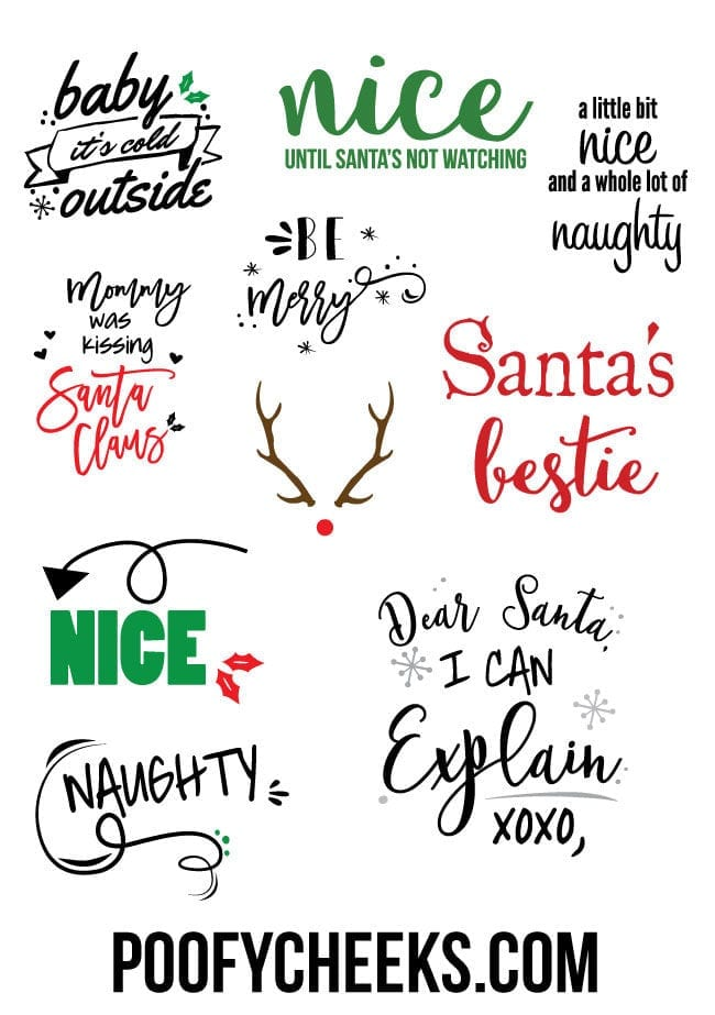 Free Christmas Cut Files - use with Cricut and Silhouette machines.