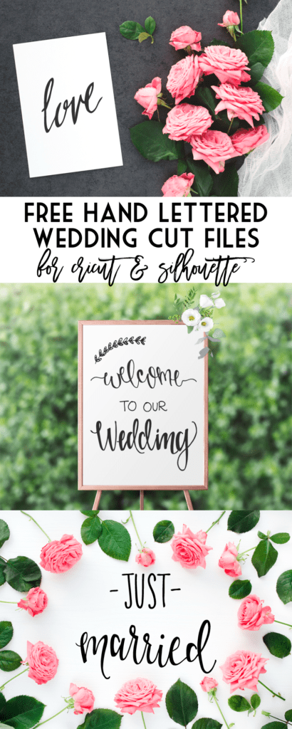Free Cut Files - Wedding cut files for Cricut and Silhouette machines. Three files for commercial or personal use.